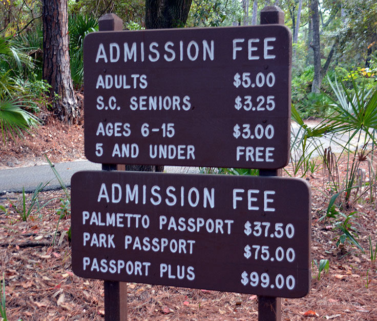 Admission fee sign at Hunting island State Park