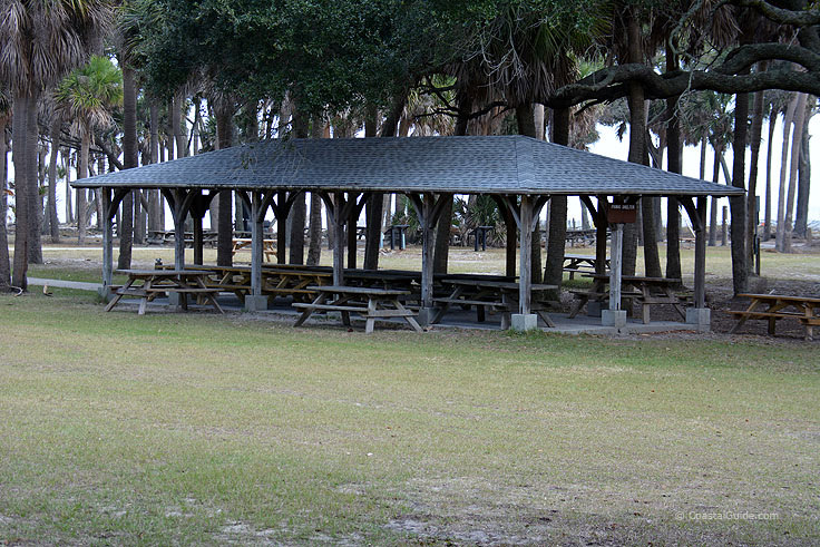 Picnic shelters at Hunting island State Park