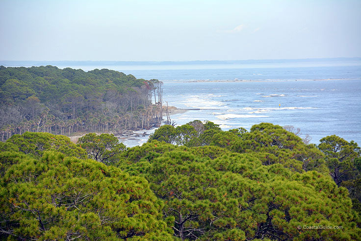 A view of the shoreline from Hunting island Light