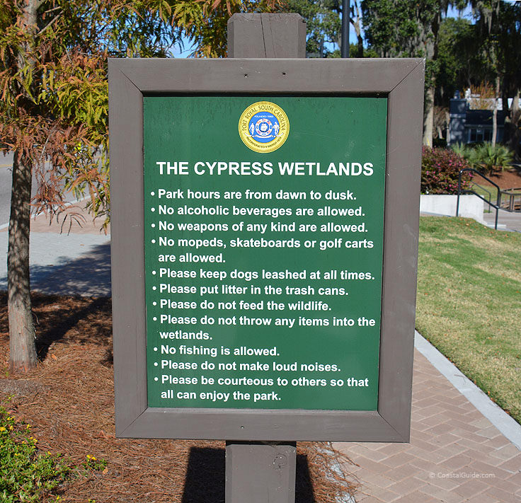 Cypress Wetlands sign in Port Royal SC